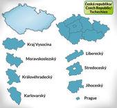 Fotografie Mapa České republiky s hranicemi v modrém