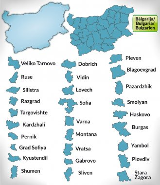 Map of Bulgaria with borders in blue