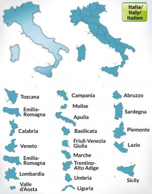 Map of Italy with borders in blue