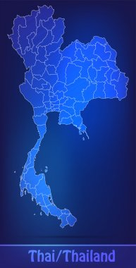 Map of Thailand with borders as scrible
