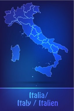Map of Italy with borders as scrible