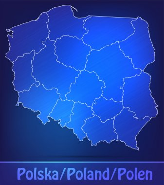 Map of Poland with borders as scrible
