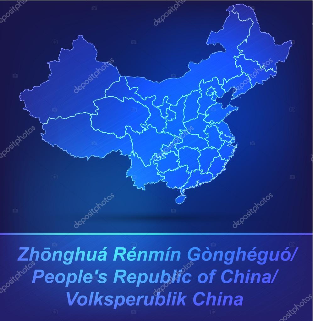 Karte von China mit Rahmen als scrible — Stockvektor © artalis #39264865