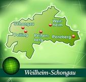 Fotografie Karte von Weilheim-schongau