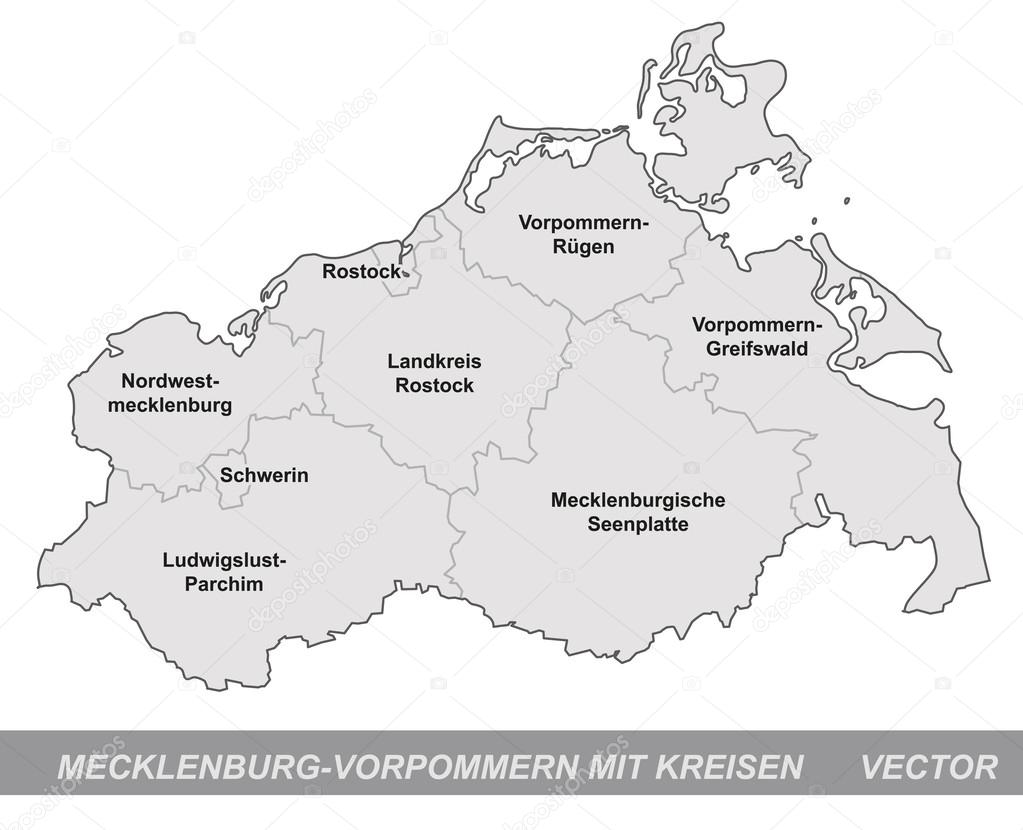 Map Of Mecklenburg Western Pomerania Stock Vector C Artalis