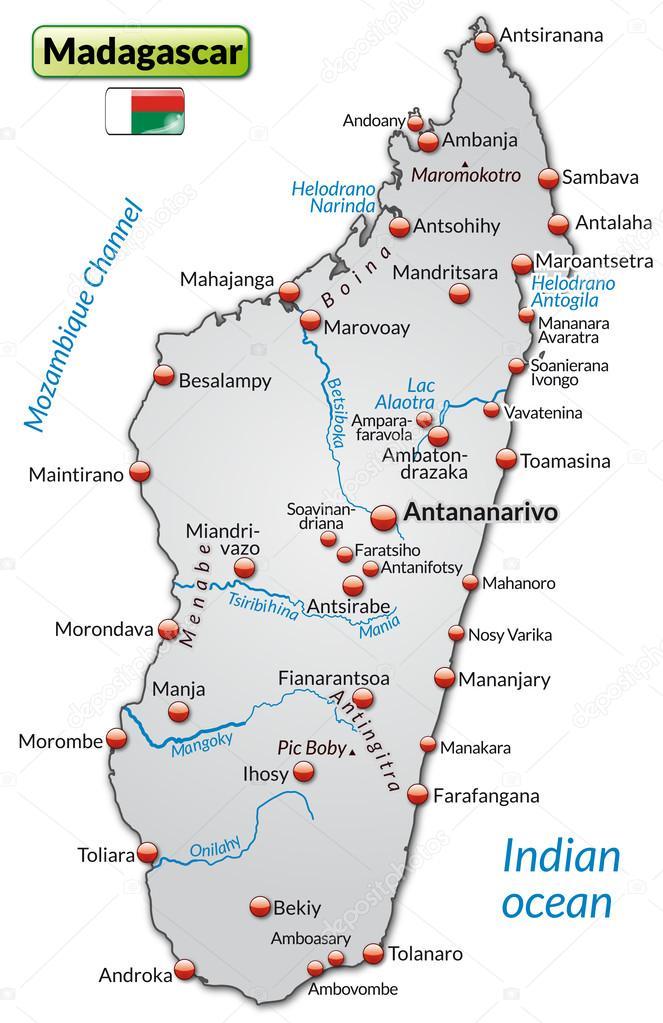 Madagaskar Karte.Karte Von Madagaskar Stockvektor C Artalis 39339993