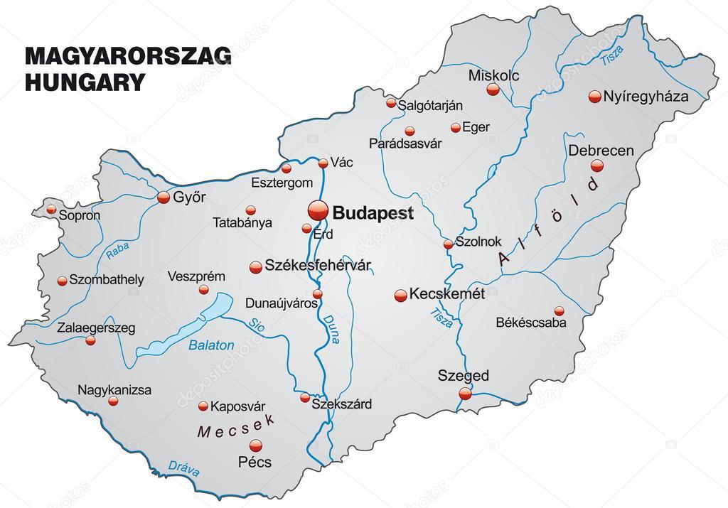 Map Of Hungary Stock Vector C Artalis 39340619
