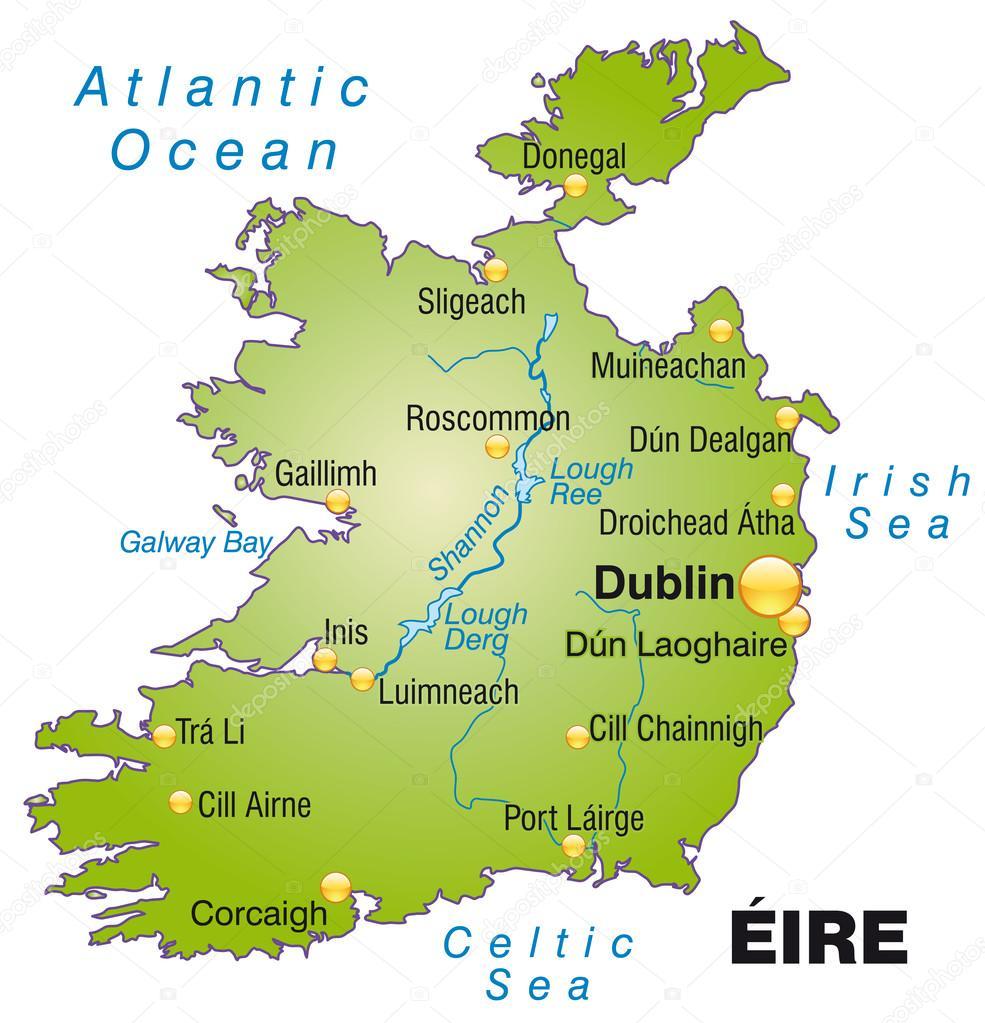 irland karta karta över Irland — Stock Vektor © artalis #39342255 irland karta