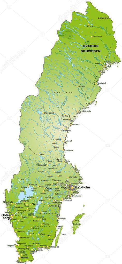 Map Of Sweden Stock Vector C Artalis 39342679