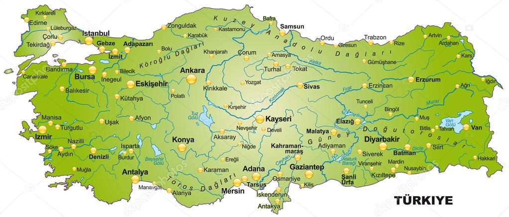 Karte Türkei.Karte Von Der Türkei Stockvektor Artalis 39342681