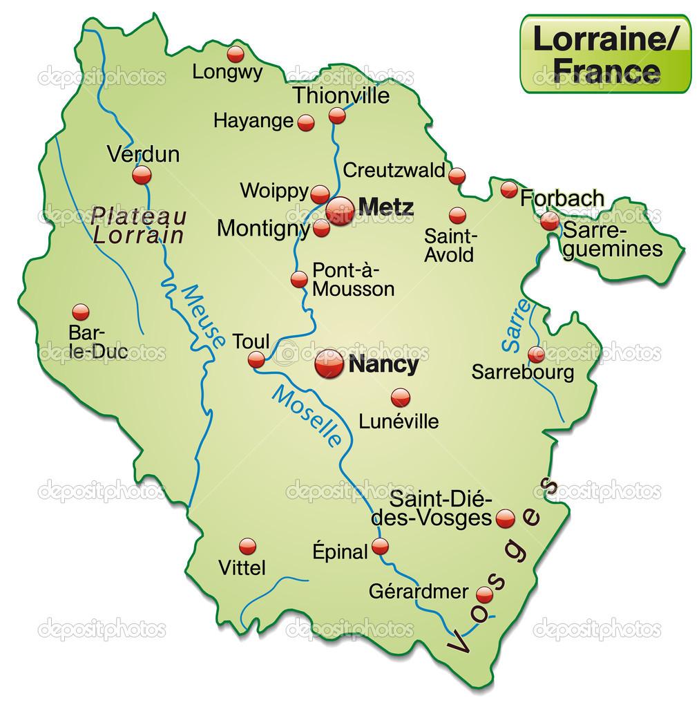 Lothringen Karte.Karte Von Lothringen Stockvektor C Artalis 39344233