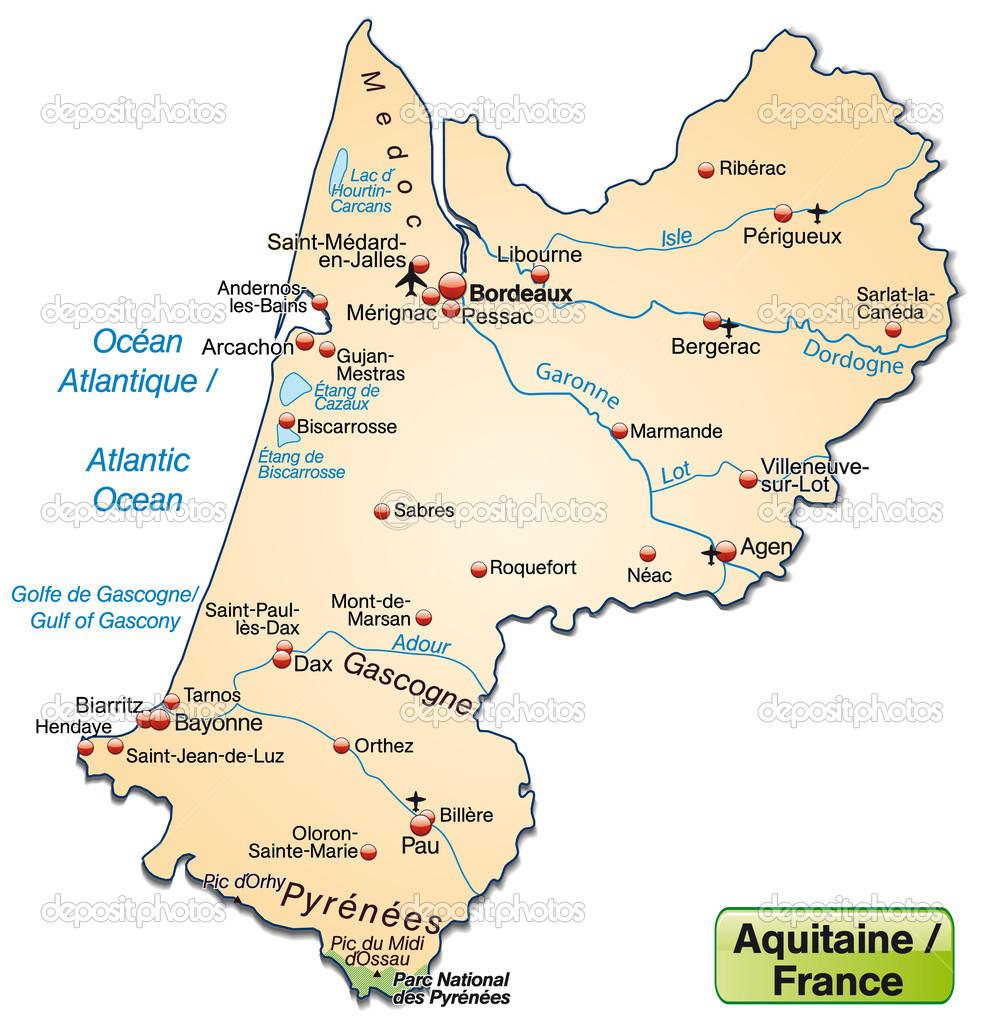 Map Of Aquitaine Stock Vector C Artalis 39344957