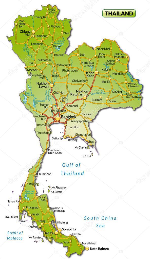 karta över thailand karta över thailand — Stock Vektor © artalis #39346153 karta över thailand