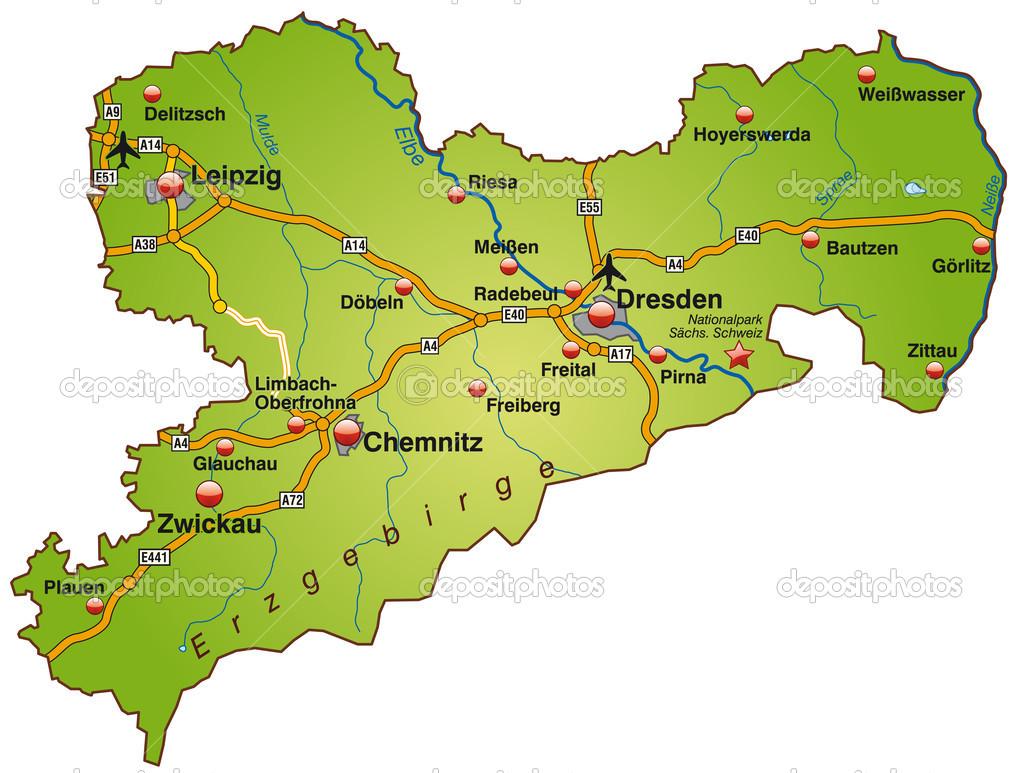 karte von sachsen karte von sachsen — Stockvektor © artalis #39346905