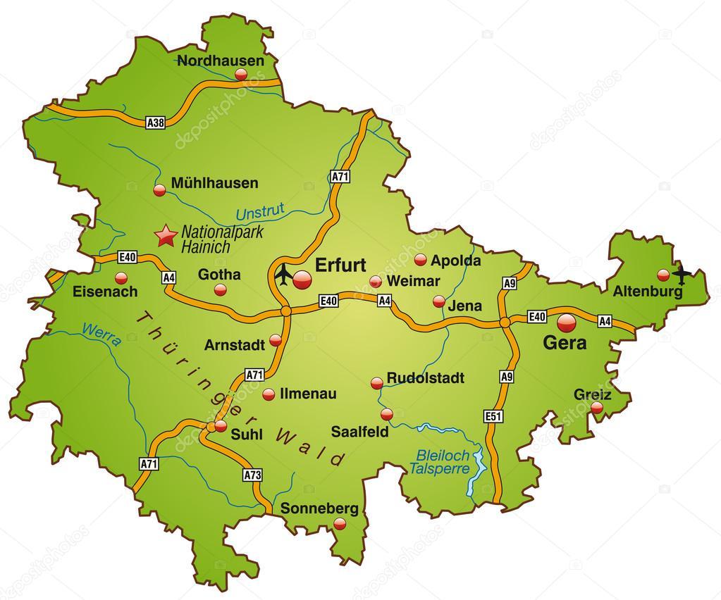 karte von thüringen karte von thüringen — Stockvektor © artalis #39346911 karte von thüringen