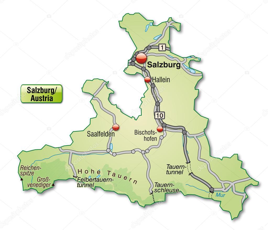 karta över salzburg karta över salzburg — Stock Vektor © artalis #39347047 karta över salzburg