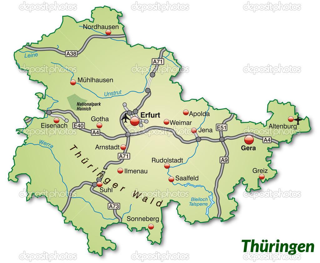 Map of thuringia Stock Vector artalis 39347257