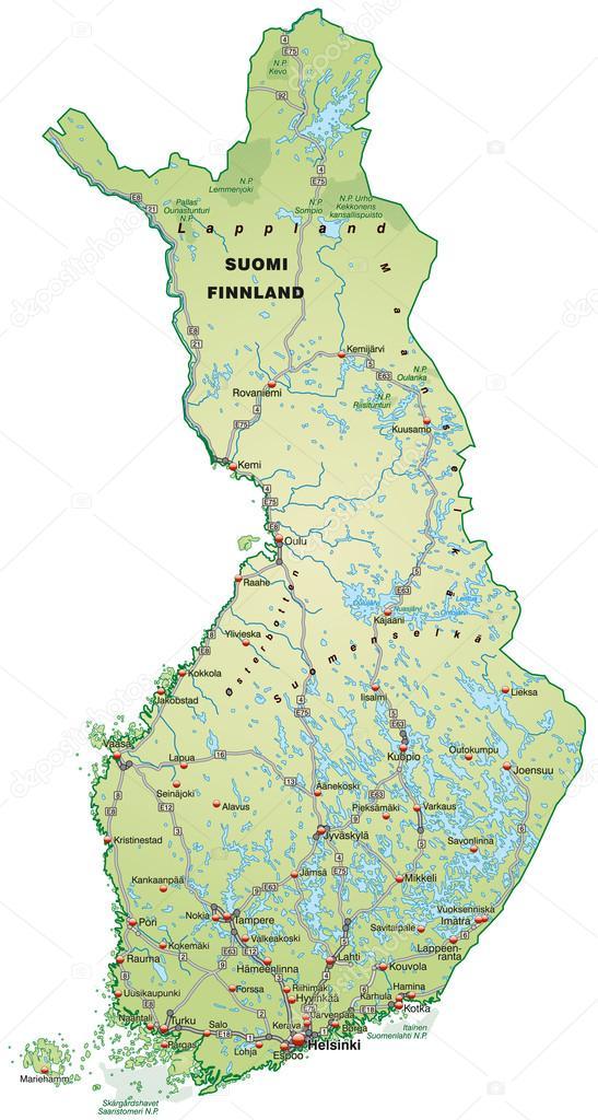 karta över finland karta över finland — Stock Vektor © artalis #39347503 karta över finland
