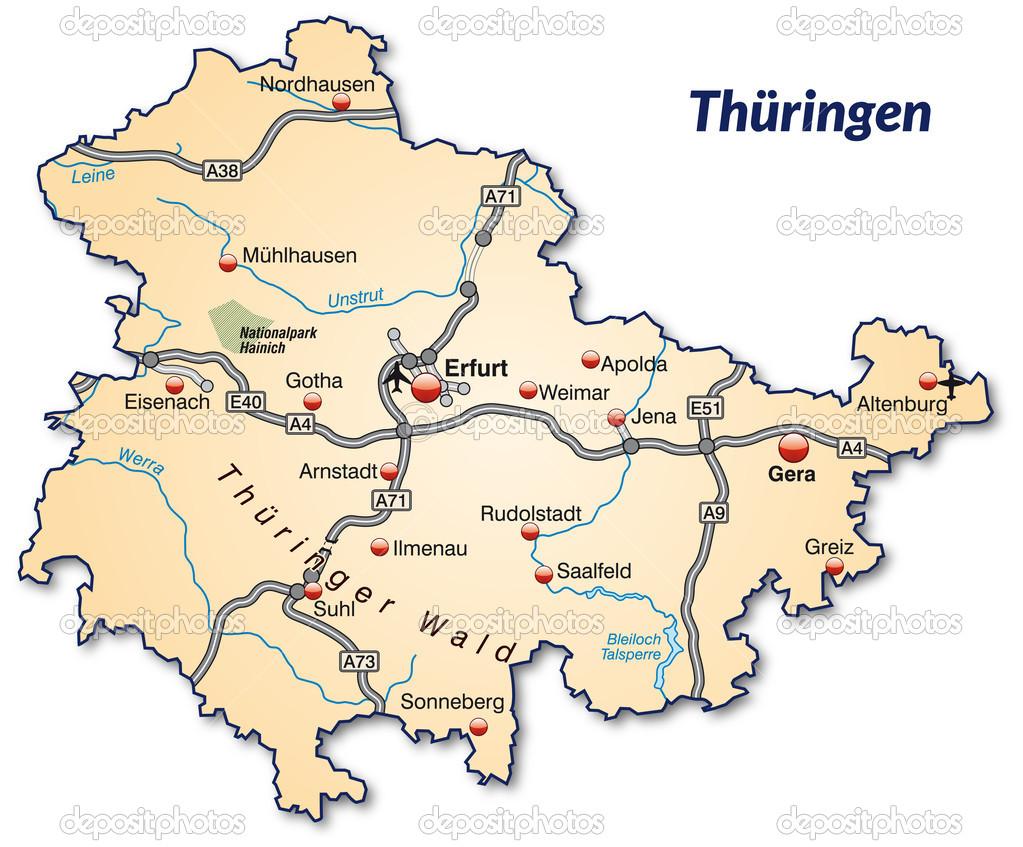 Map of thuringia Stock Vector artalis 39348063