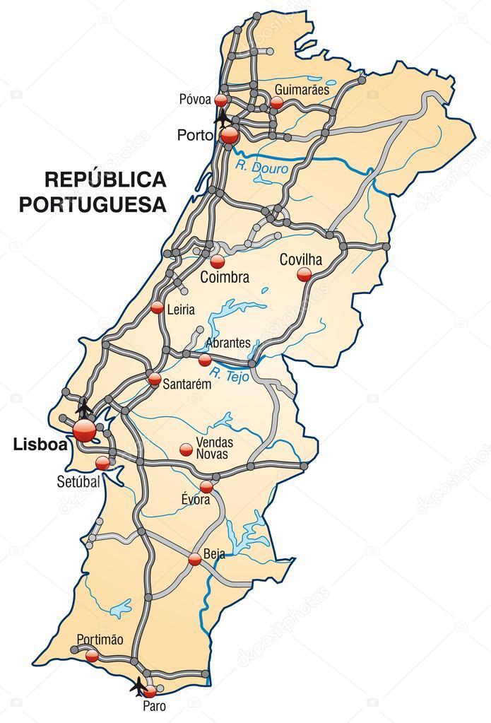 Mapa De Carreteras Portugal.Mapa De Portugal Vector De Stock C Artalis 39348407