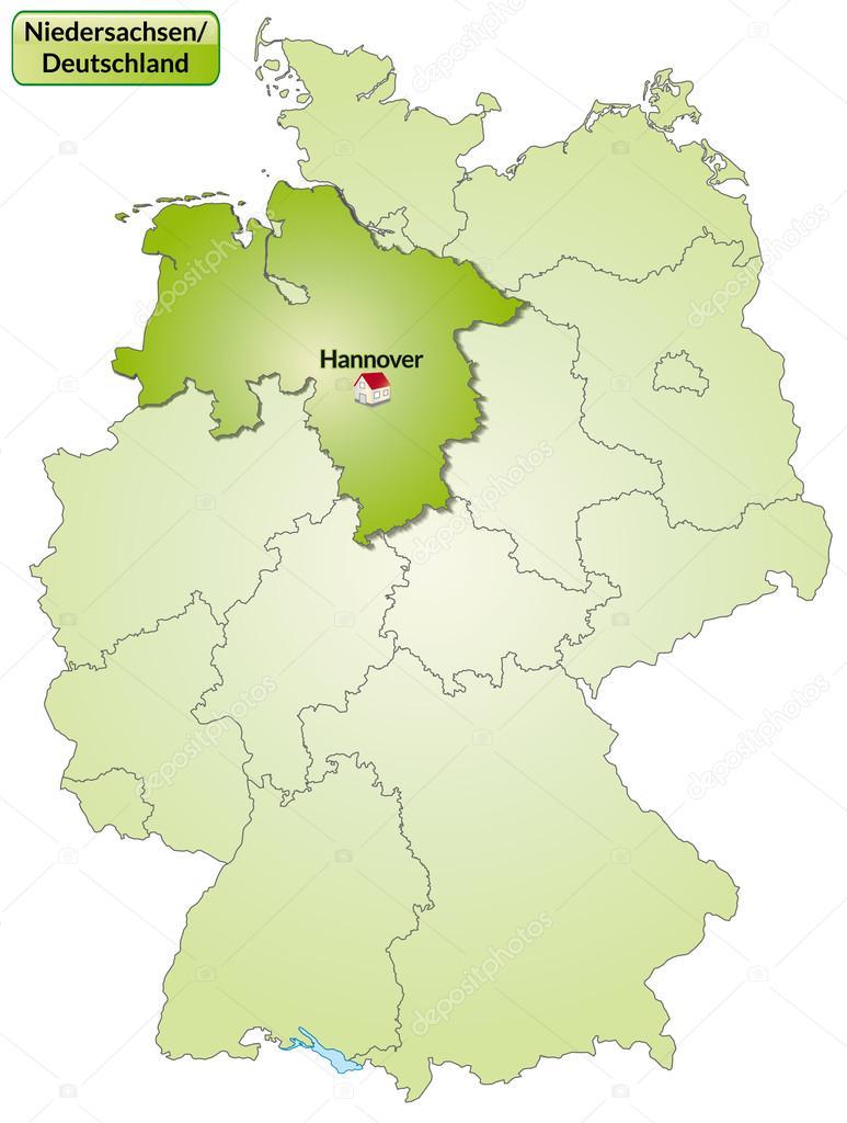 Niedersachsen Karte Mit Städten.Karte Von Niedersachsen Stockvektor Artalis 39351801