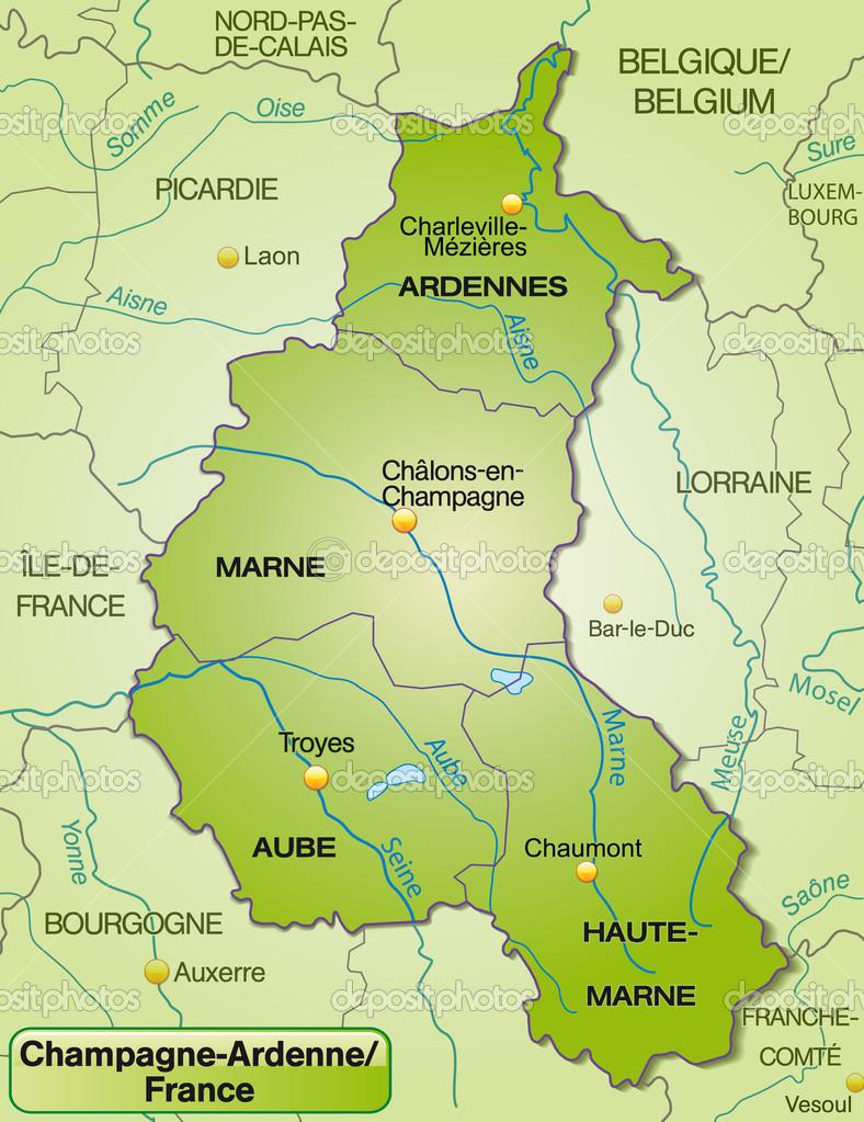 champagne frankrike karta karta över champagne ardenne — Stock Vektor © artalis #40896325 champagne frankrike karta