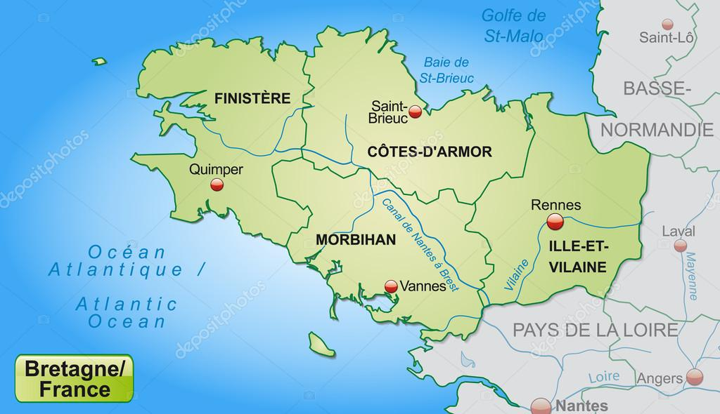 bretagne karta karta över Bretagne — Stock Vektor © artalis #40897145 bretagne karta