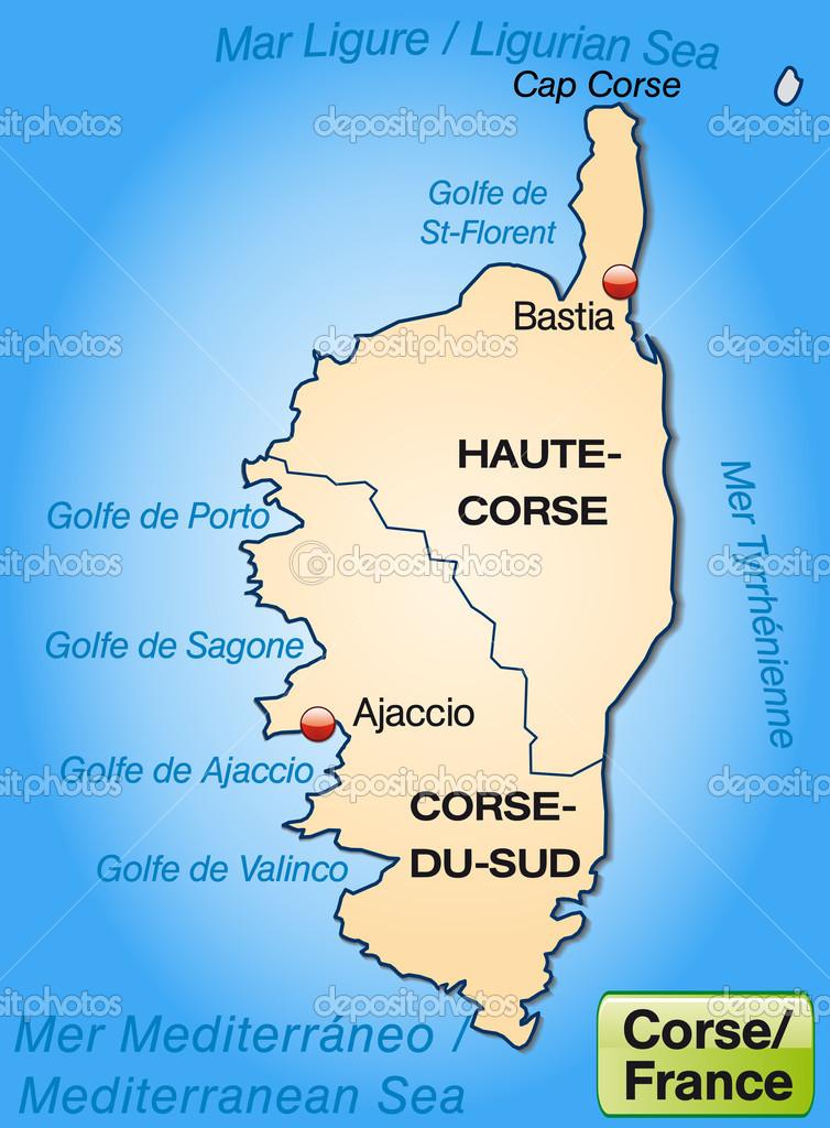 Mapa Mapa Korsiky