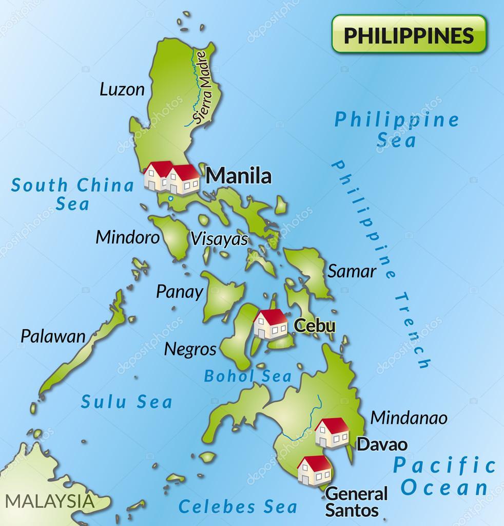 Karte Philippinen.Karte Von Philippinen Stockvektor Artalis 40911633