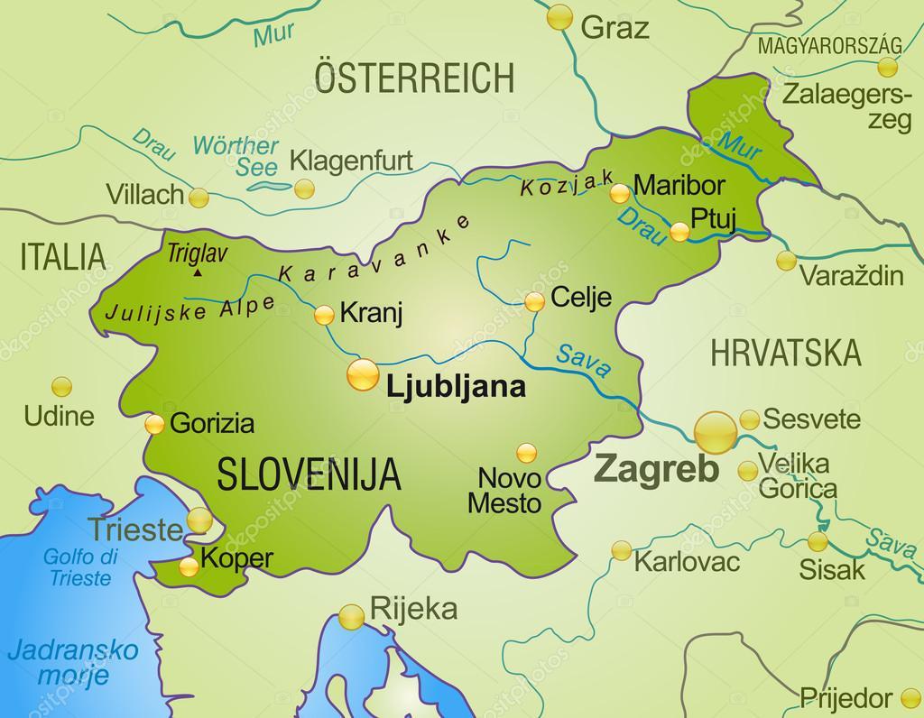 Map Of Slovenia Stock Vector Artalis - Udine map