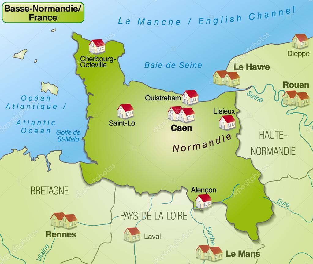 Map Of Lower Normandy Stock Vector C Artalis 40919511