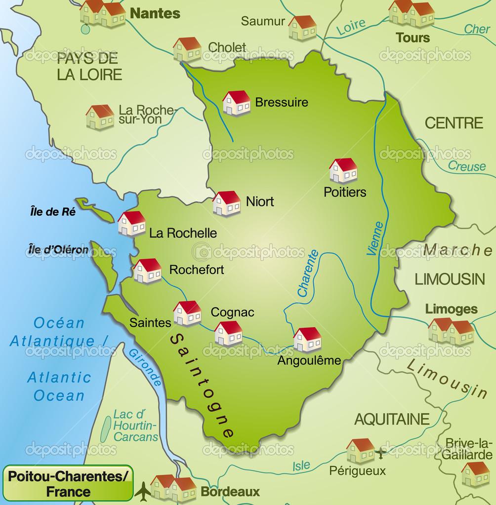Map of Poitou-Charentes — Stock Vector © artalis #40919703