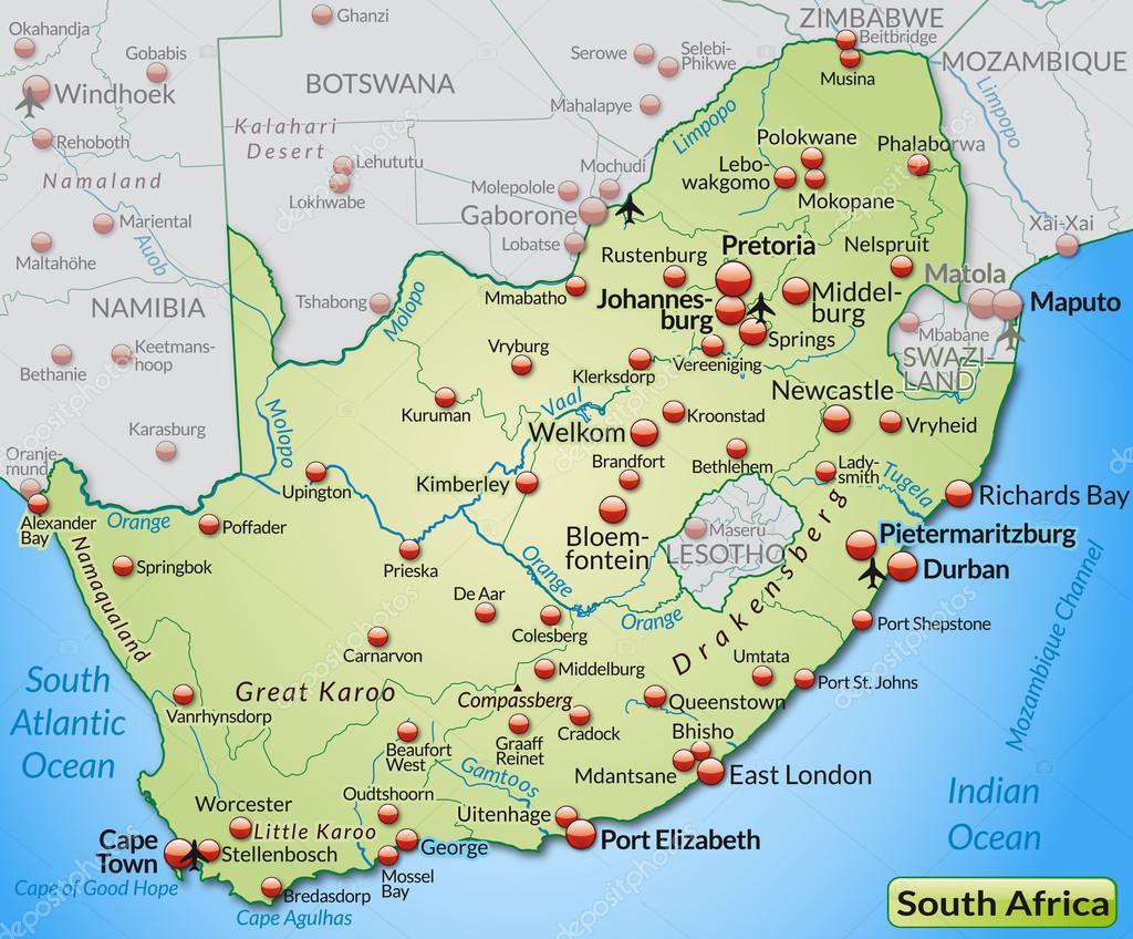 Südafrika Karte.Karte Von Südafrika Stockvektor Artalis 40920287