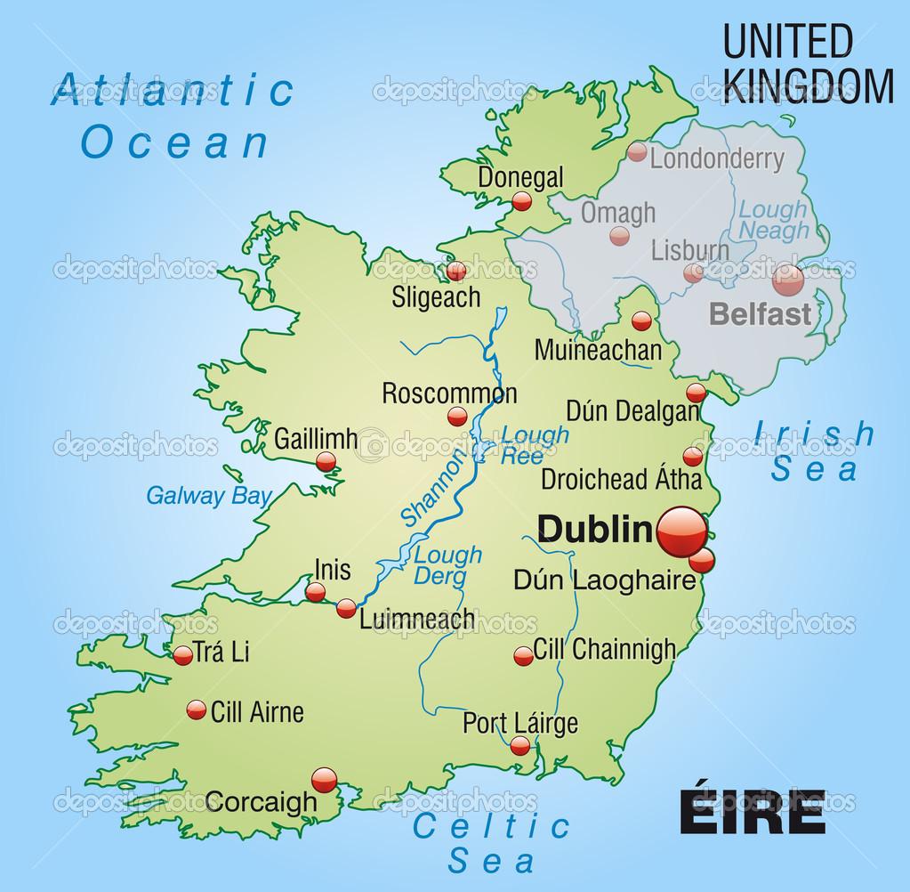 irland karta karta över Irland — Stock Vektor © artalis #40920753 irland karta