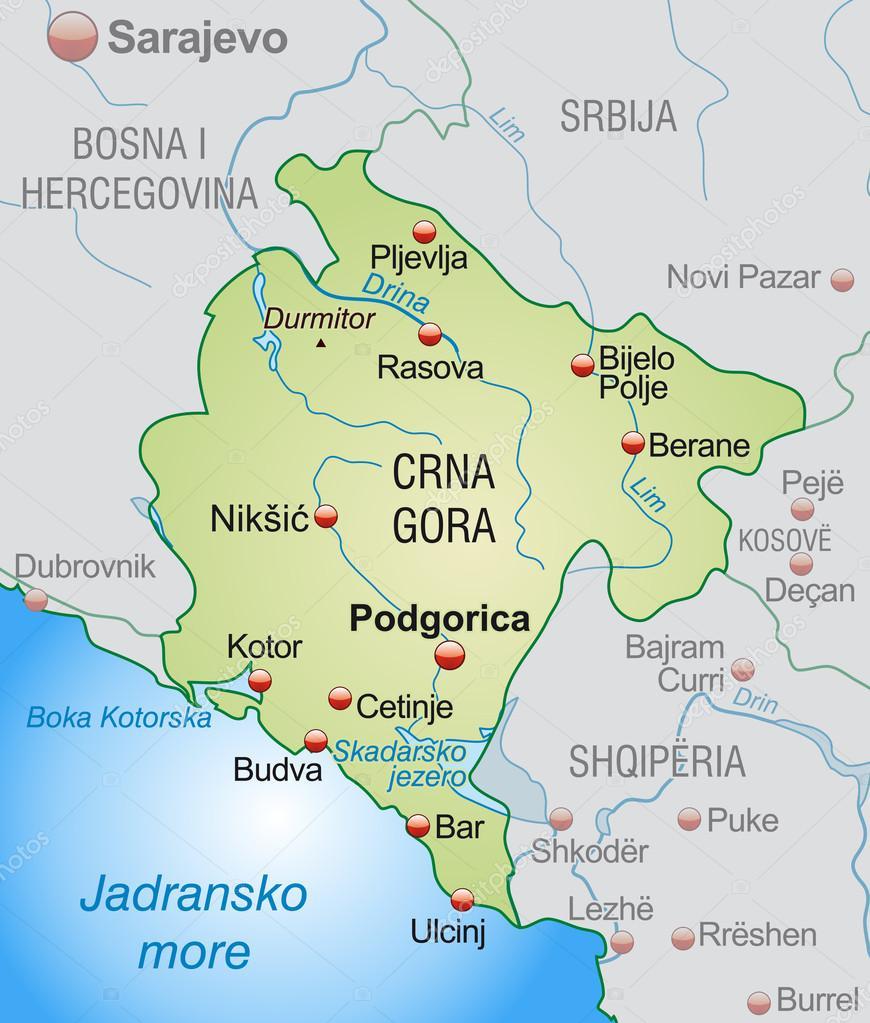 Kotor Montenegro Karte.Karte Von Montenegro Stockvektor C Artalis 40920941