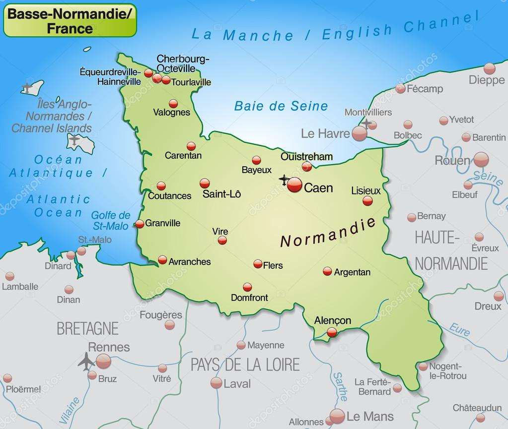 Map Of Normandy France Detailed.Map Of Lower Normandy Stock Vector C Artalis 40921429