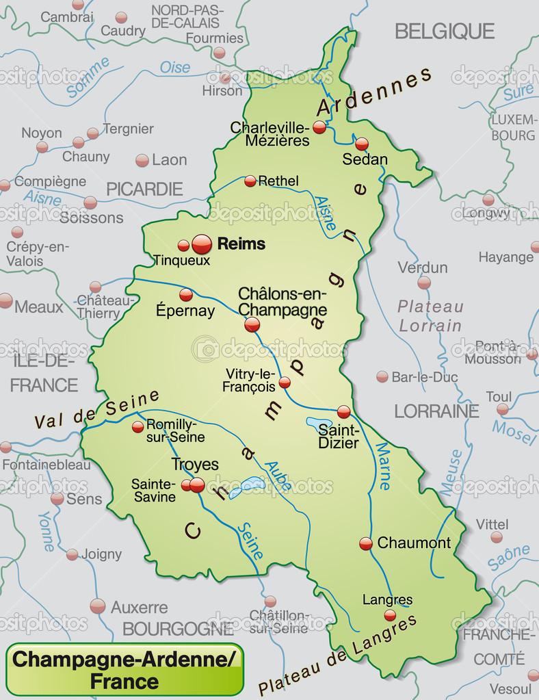 champagne karta karta över champagne ardenne — Stock Vektor © artalis #40921579 champagne karta