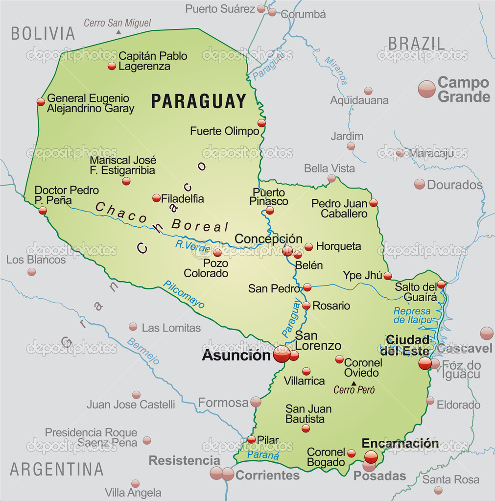 Map of Paraguay Stock Vector artalis 40922113