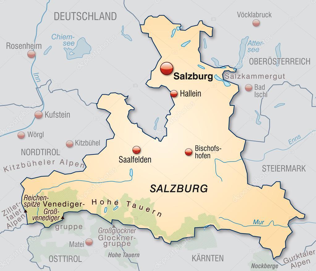 karta över salzburg karta över salzburg — Stock Vektor © artalis #40922905 karta över salzburg