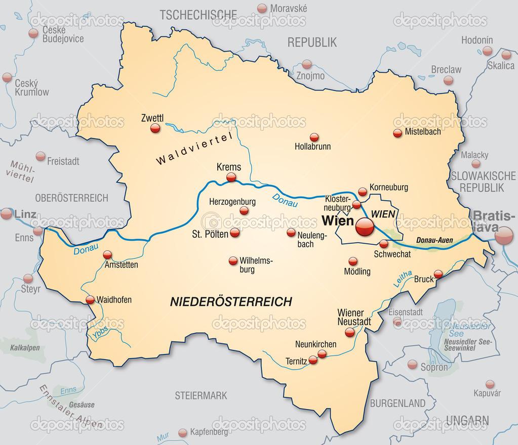 kelet ausztria térkép Alsó Ausztria Térkép — Stock Vektor © artalis #40923443 kelet ausztria térkép