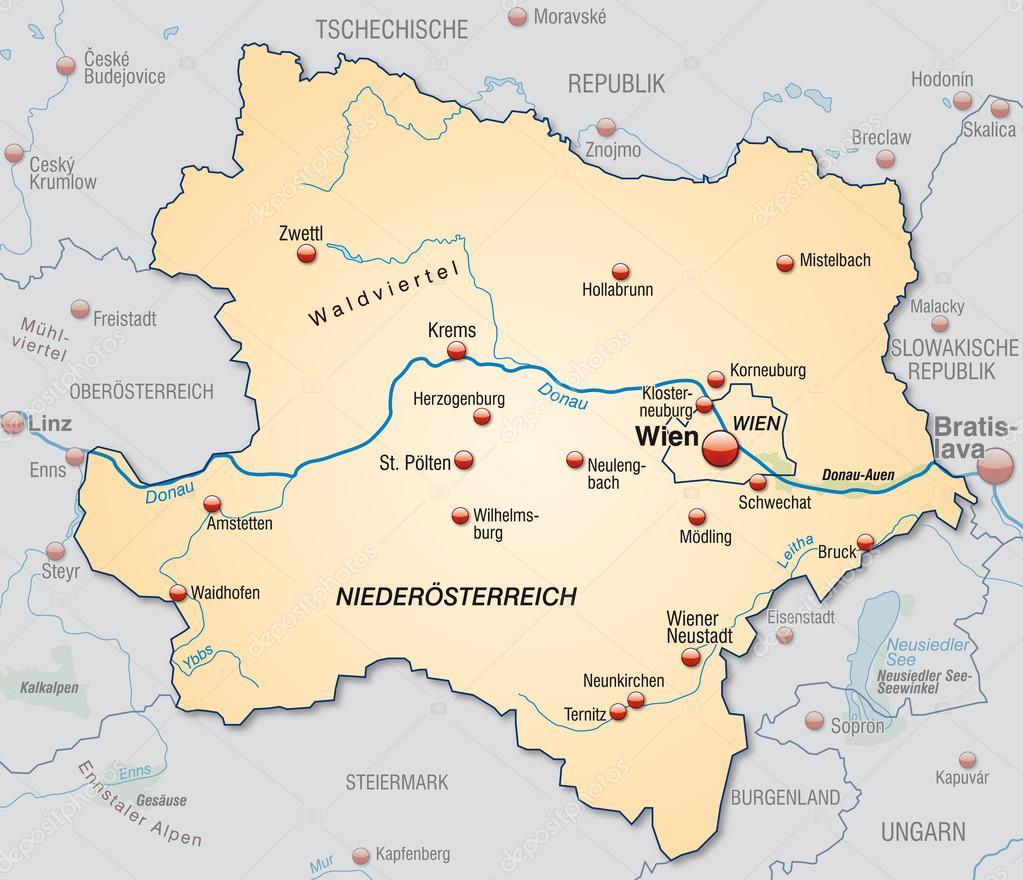 Map Of Lower Austria Stock Vector C Artalis 40923443