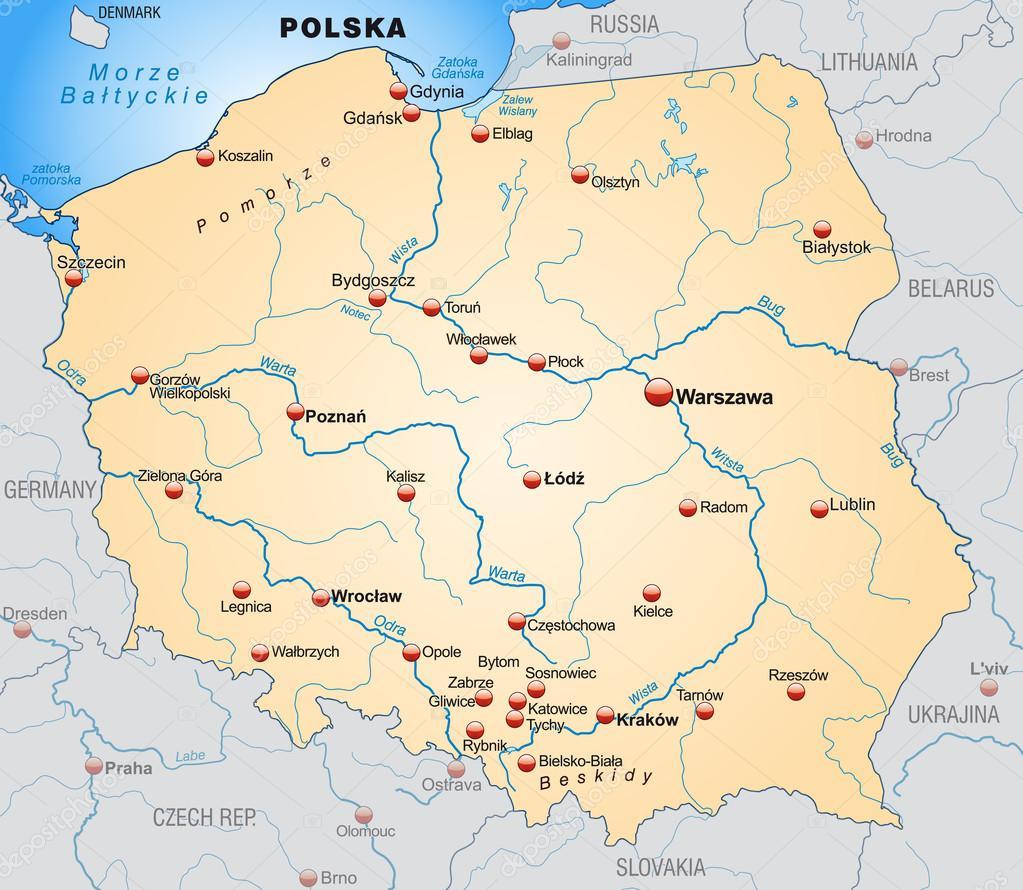 Map Of Poland Stock Vector C Artalis 40923467