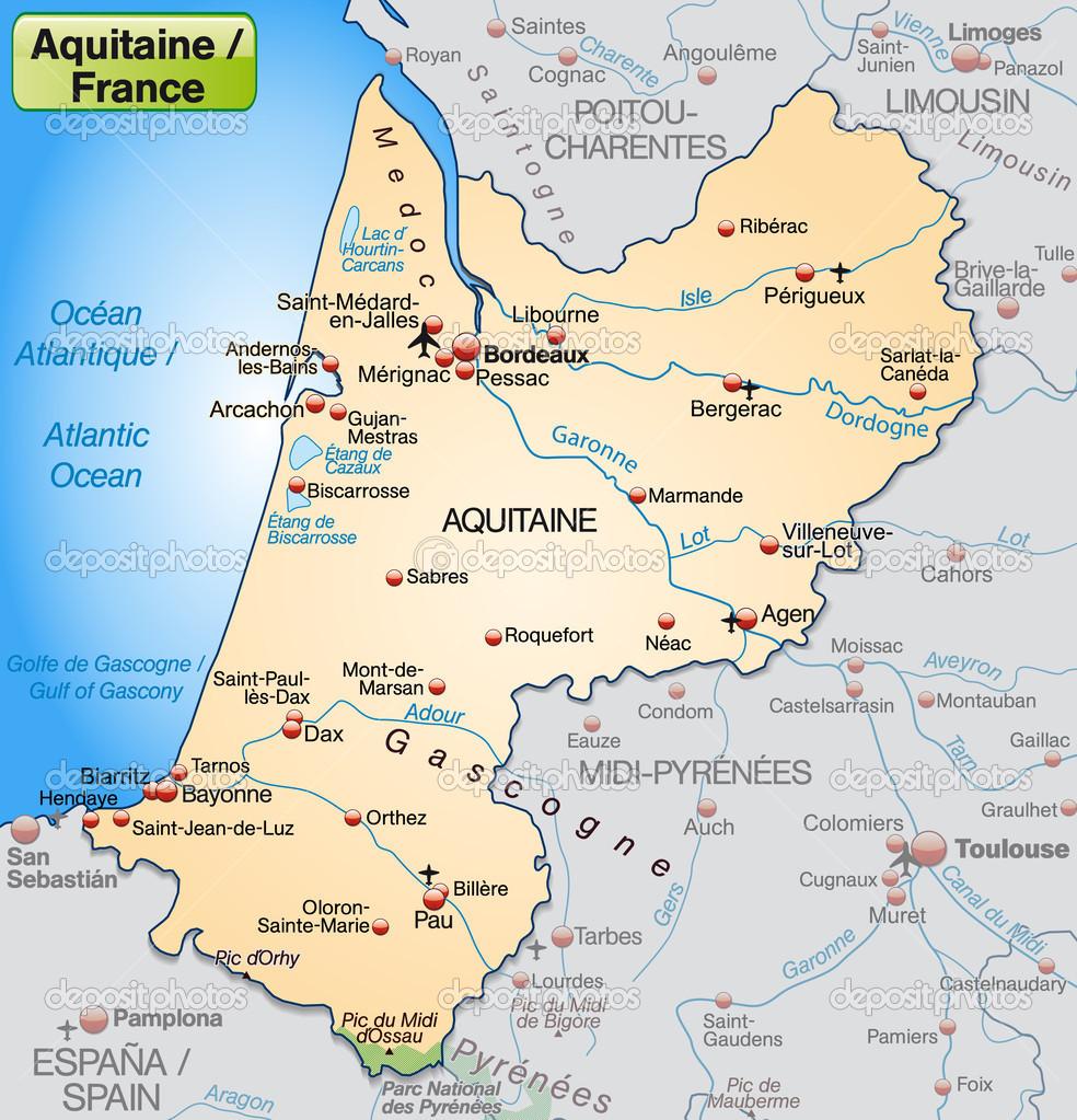 aquitania mapa Aquitania mapa | Karte von Aquitaniencarte d'aquitaine — Vector de  aquitania mapa