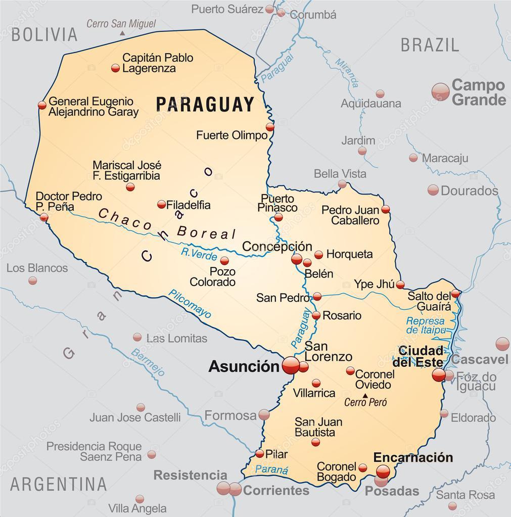 Map of Paraguay — Stock Vector © artalis #40924479