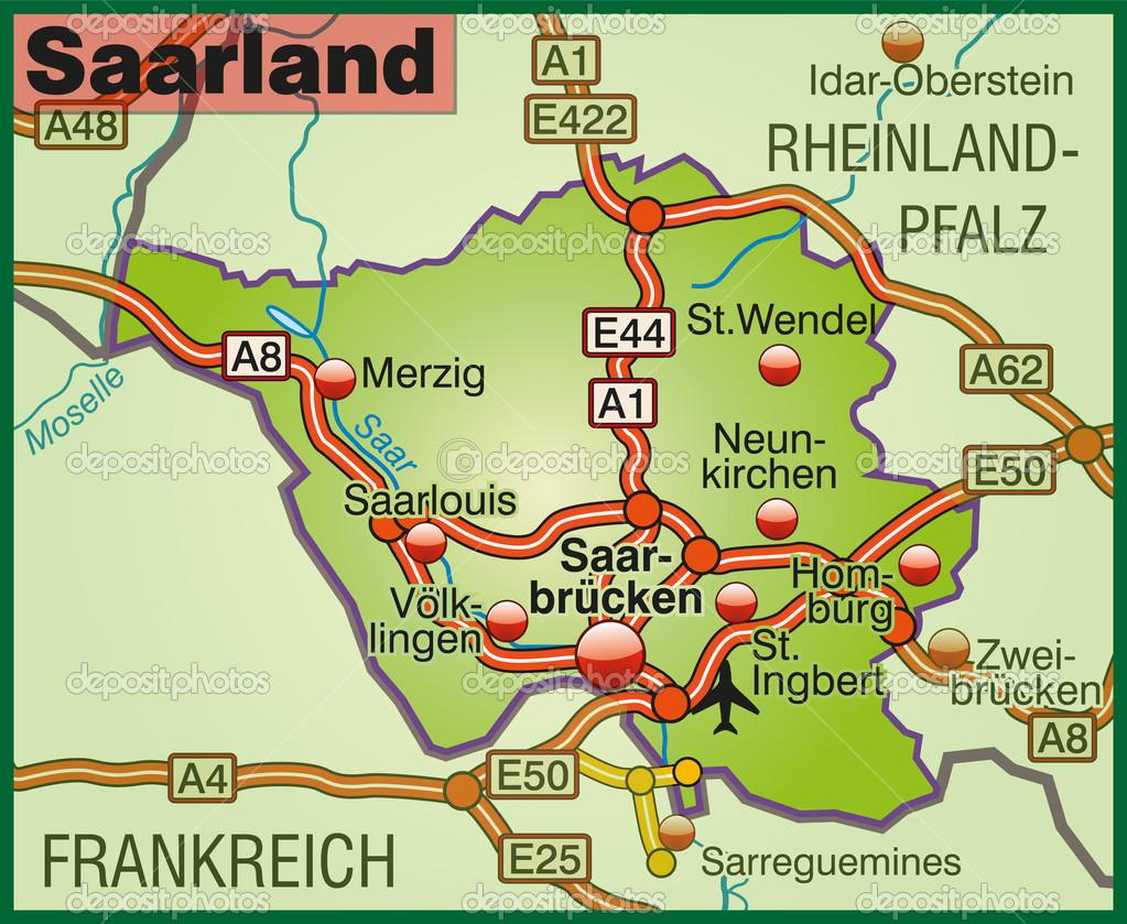Map of Saarland Stock Vector artalis 40925507