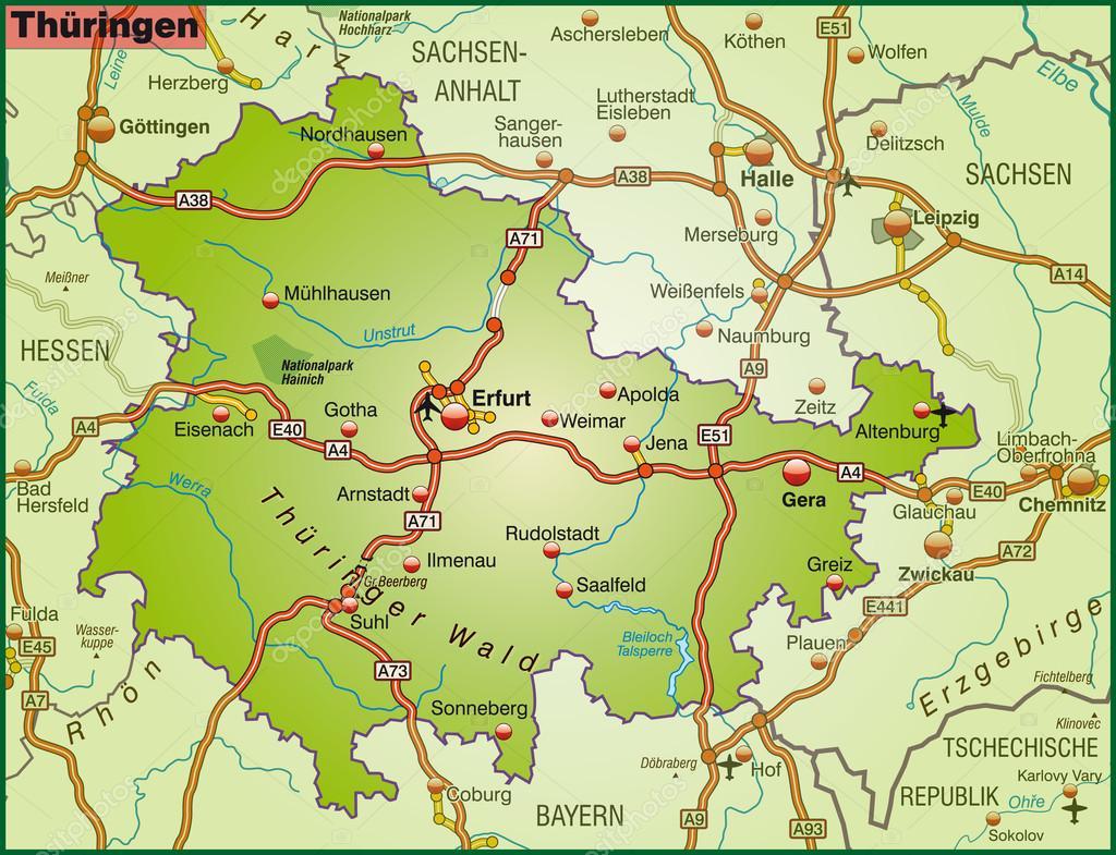 Map of thuringia Stock Vector artalis 40925611