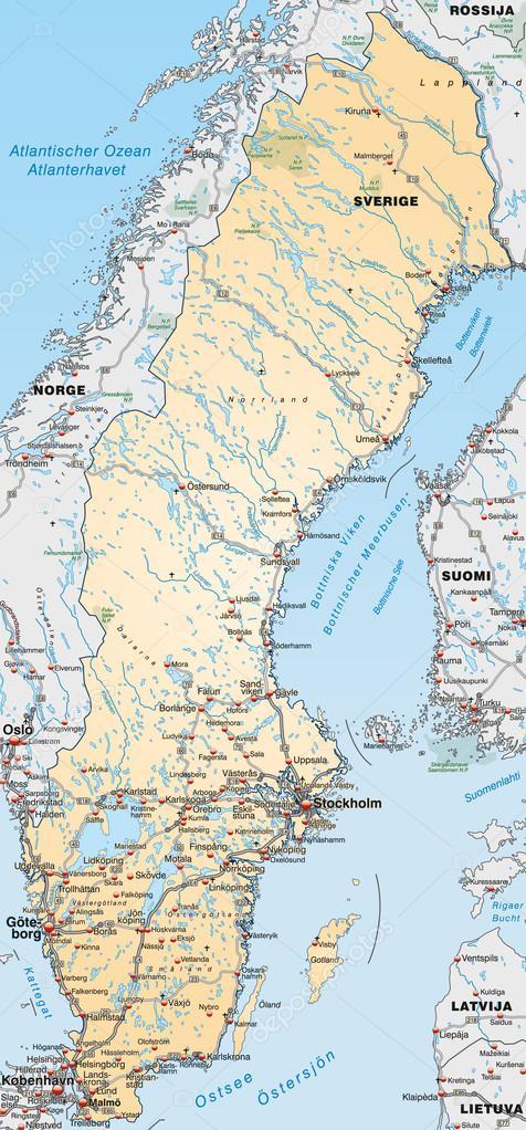 Map Of Sweden Stock Vector C Artalis 40928257