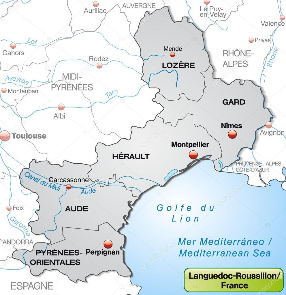 Carte Languedoc Roussillon.Carte Du Languedoc Roussillon Image Vectorielle Artalis C 40928959