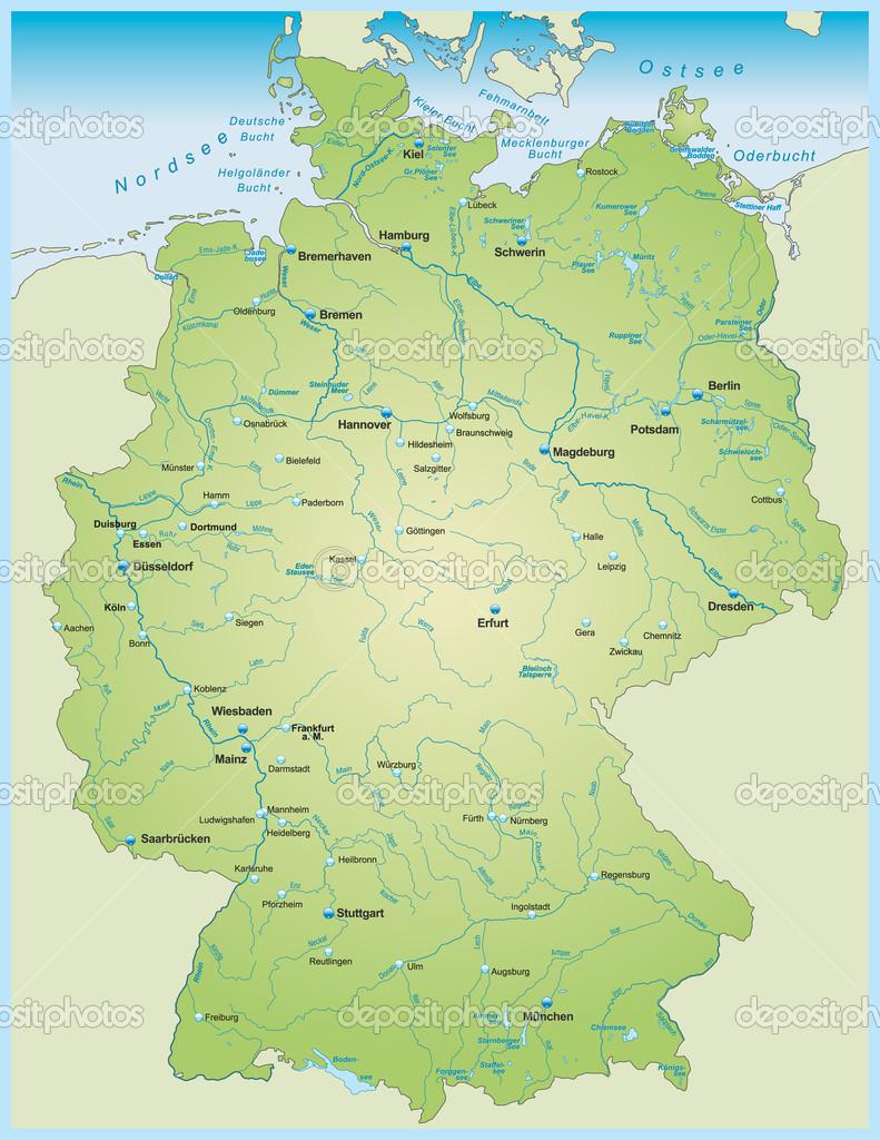 tyska floder karta karta över Tyskland — Stock Vektor © artalis #48981991 tyska floder karta