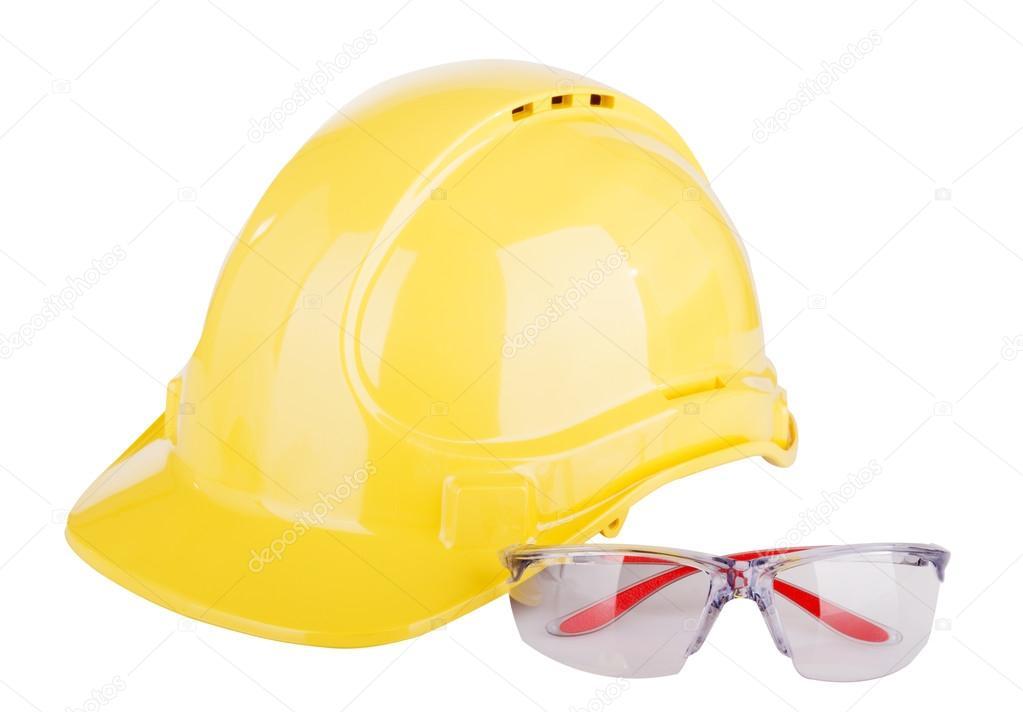 Equipamento de segurança pessoal ou EPI - equipamentos de proteção  individual - com um capacete e óculos de segurança, isolados no branco —  Foto de THPStock 252f48a72e